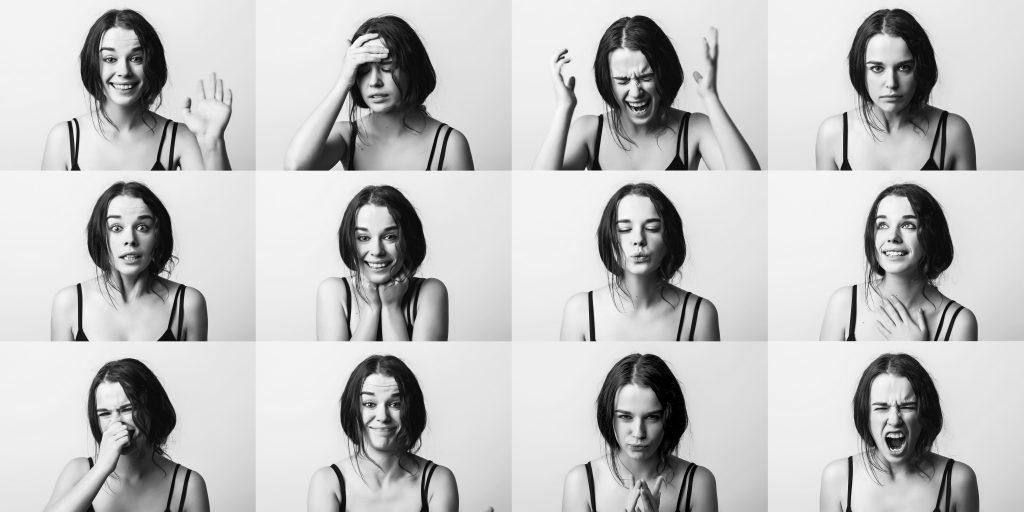 Emociones tristeza feliz enfadado